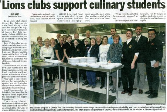 Lions Club Support Culinary Students