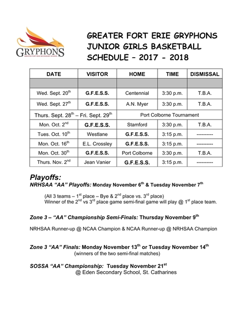 2017-18 Junior Girls Basketball Schedule