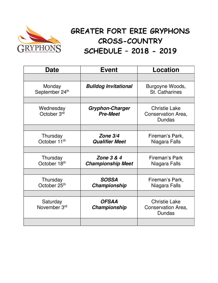 2018-19 - Cross-Country Schedule