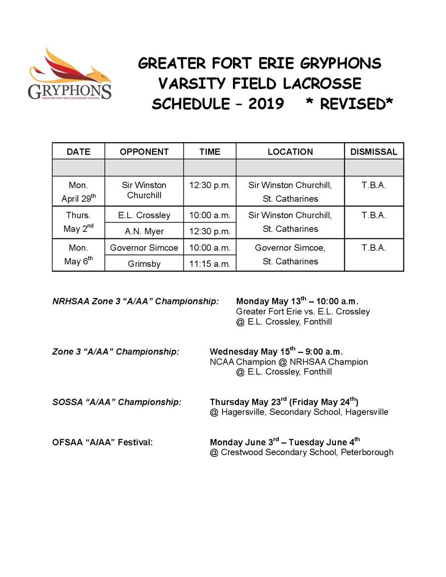 2018-19 - Field Lacrosse Schedule - v2 - Revised