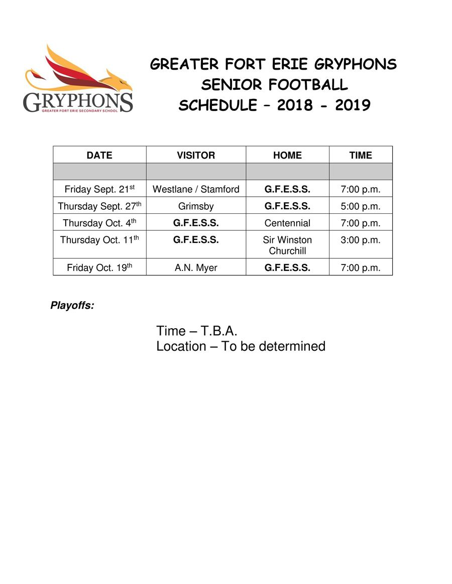 2018-19 -  Senior Football Schedule
