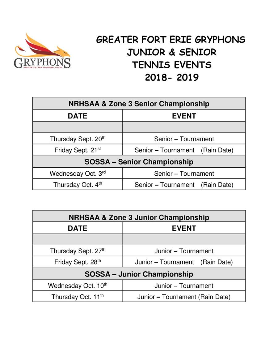 2018-19 - Tennis Schedule - Jr & Sr