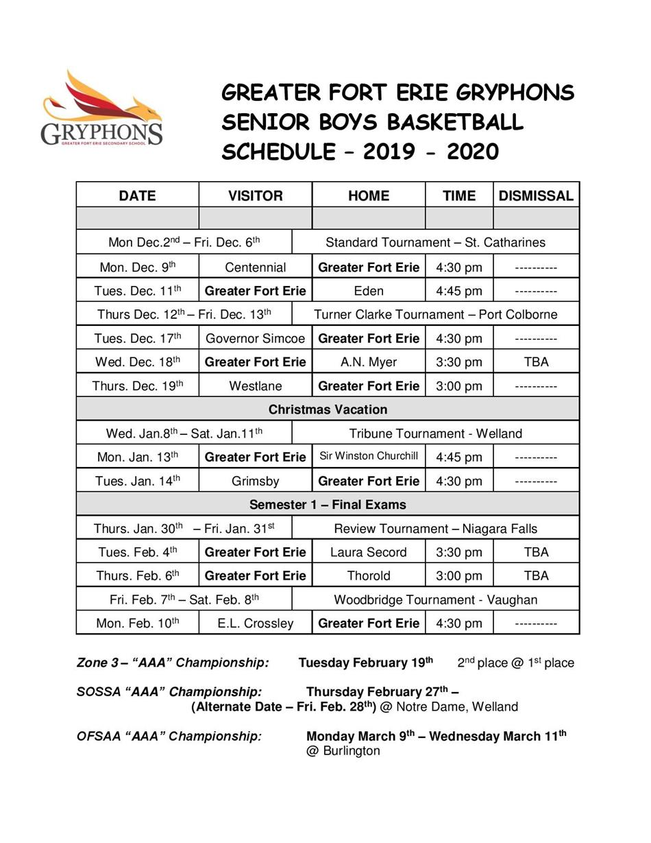 2019-20 - Senior Boys Basketball Schedule
