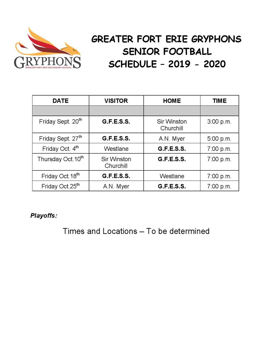 2019-20 -  Senior Football Schedule - v2 Sept 19