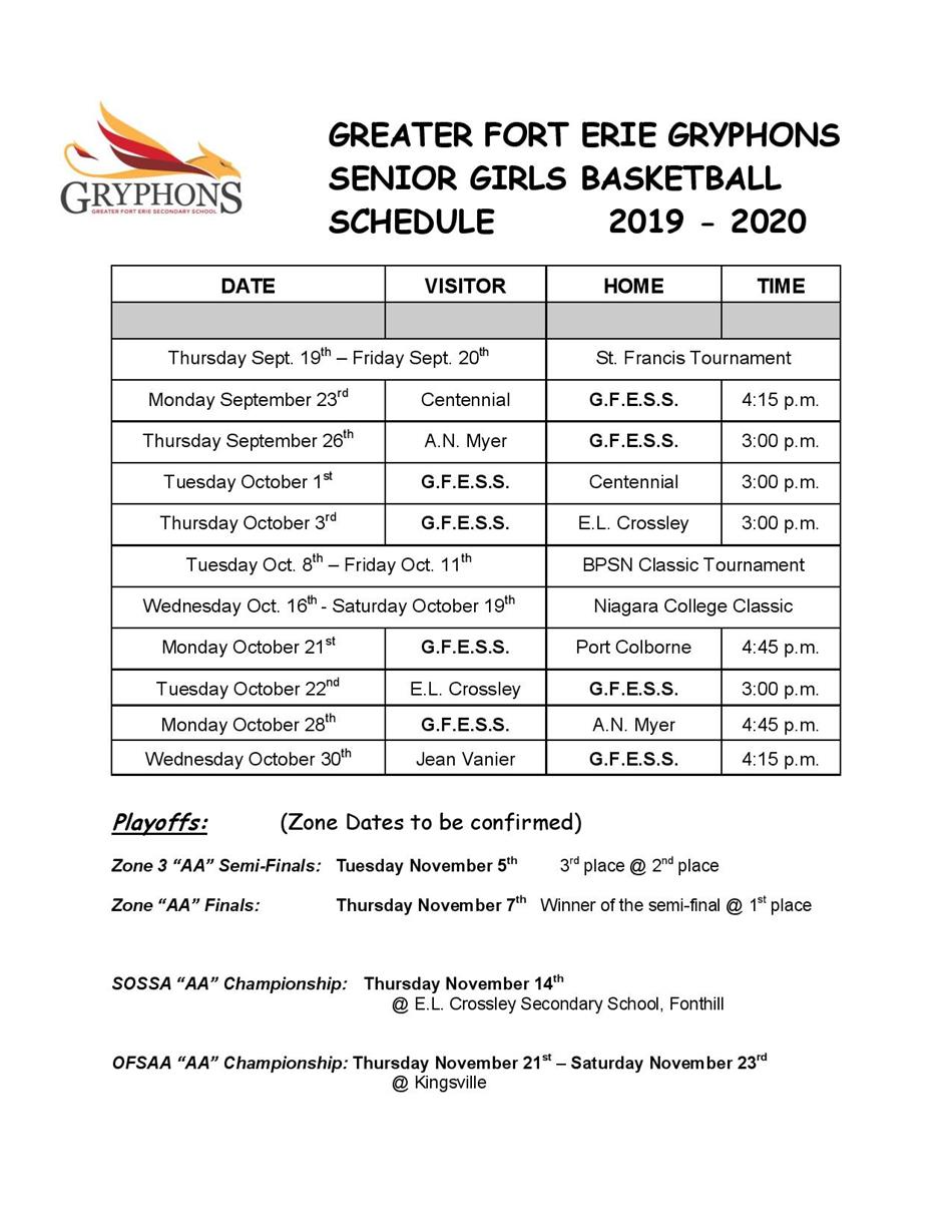 2019-20 - Senior Girls Basketball Schedule