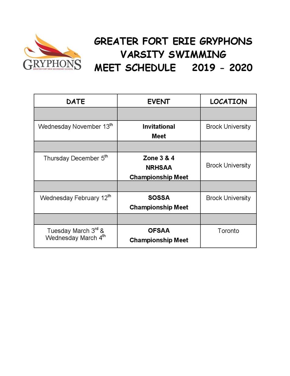 2019-20 - Swimming Schedule